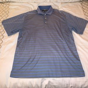 Greg Norman Blue and yellow striped golf polo L
